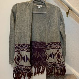 Charming Charlie Aztec Fringe Sweater S